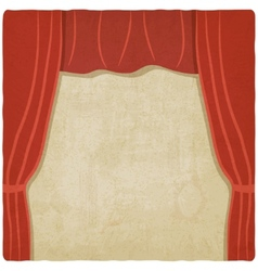 red curtain old background vector image vector image