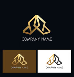 shape arrow geometry gold logo vector image vector image