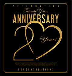 20 years anniversary black and gold background vector