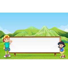 A young boy and a young girl beside the empty vector image