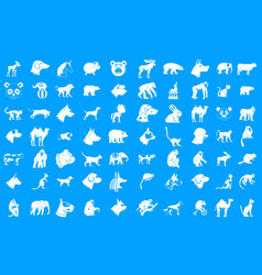 animals icon blue set vector image