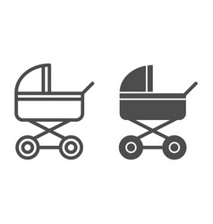 Baby stroller line and glyph icon baby carriage vector