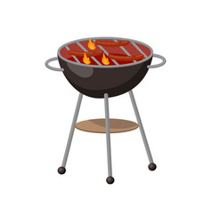 barbecue party grill with sausages cartoon vector image