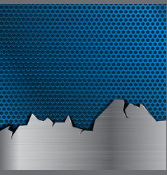 Blue metal perforated background with stainless vector