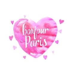 Bonjour paris card with watercolor hearts vector