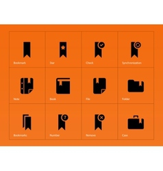 Bookmark favorite icons on orange background vector image