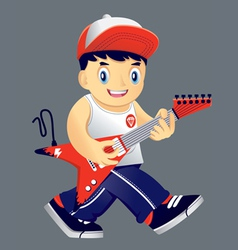 Boy guitarist vector image