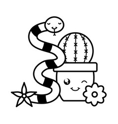 cactu in ceramic pot and snake kawaii style vector image