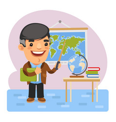 cartoon geography teacher vector image