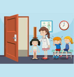 children getting medical examinations vector image