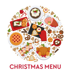 christmas menu for celebration table foods dishes vector image