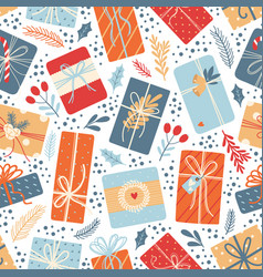 christmas seamless pattern on white background vector image