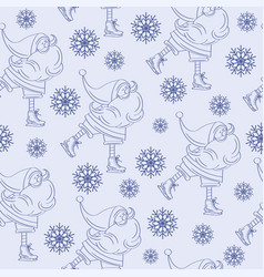 christmas seamless pattern with santa vector image