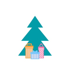 Christmas Tree with Gifts Isolated vector image