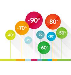 color symbol percent discounts icon vector image