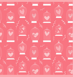 concept retro seamless pattern with birds cage vector image