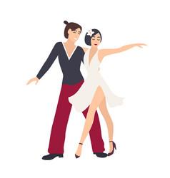 Couple dancers dressed in elegant clothing vector