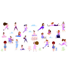 crowd tiny women active in park flat vector image