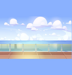 Cruise liner ship deck or quay with glass baluster vector