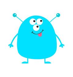 cute blue monster icon happy halloween cartoon vector image