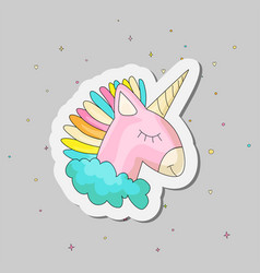 cute cartoon colored unicorn vector image