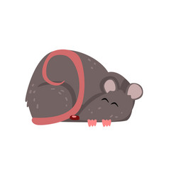 Cute grey mouse sleeping funny rodent character vector