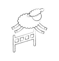 cute lamb jumping the fence vector image