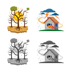 Design of natural and disaster sign vector