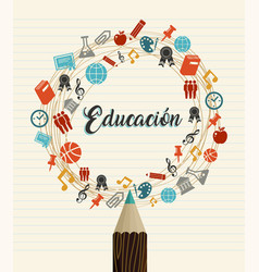 Education school quote in spanish language vector