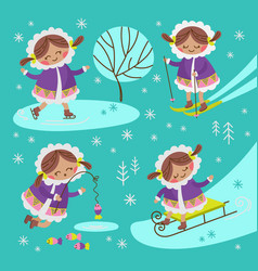 eskimo girl flat design winter child vector image