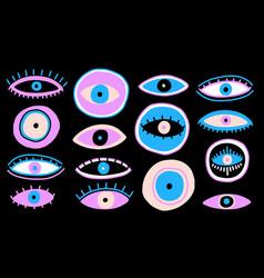 Evil seeing eye symbol naive set occult mystic vector