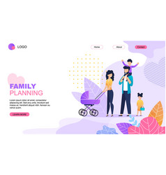 Family planning cartoon landing page template vector