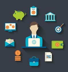 Financial and business icons flat design vector image
