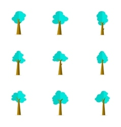 Flat of tree set stock vector