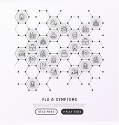 Flu and symptoms concept in honeycombs vector