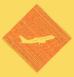 flying plane sign side view red scribble vector image