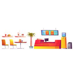 food court interior furniture stuff isolated set vector image