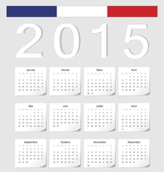 French 2015 calendar with stickers vector image