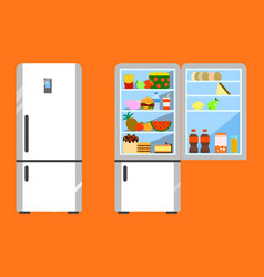 Full of food opened and close refrigerator fridge vector