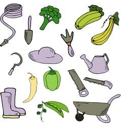 gardening elements in cartoon style vector image
