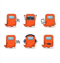 Ghost among us orange cartoon character vector