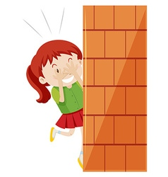 Girl hiding behind the wall vector