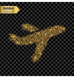 Gold glitter icon of airplane isolated on vector