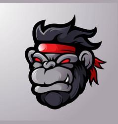 gorilla cartoon mascot logo vector image