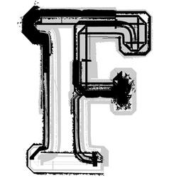 Grunge font letter F vector