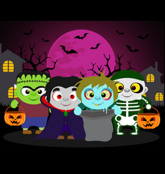 Halloween background trick or treat with kids in vector