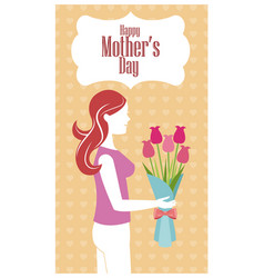Happy mothers day - woman flowers heart background vector