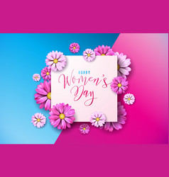 Happy womens day floral greeting card design vector