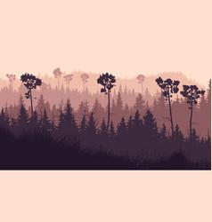 Horizontal coniferous twilight forest vector