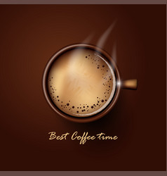 Hot cup coffee top view on brown background vector